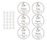 24 STICKER: 24 selbstklebende Gewürzetiketten für die Küche in weiß mit Motiv: Küchenkräuter'Home Made Style' mit Gewürzaufschriften für verschiedene Gewürze • Etiketten: 4 cm, rund, matt