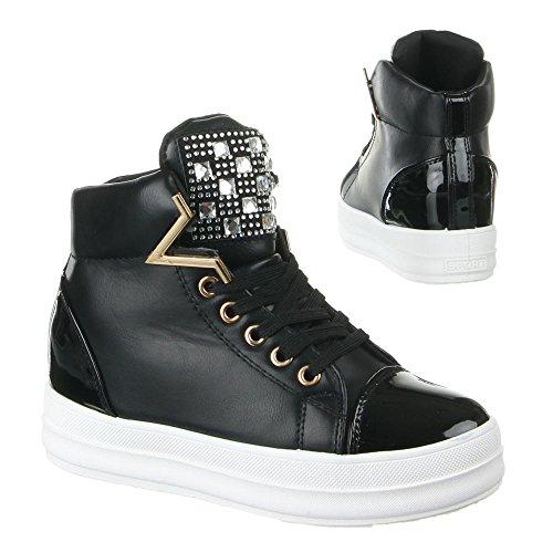 Damen Schuhe, JLF-B128, FREIZEITSCHUHE Schwarz