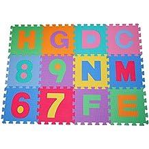 HOMCOM Alfombra puzle 192x192 cm Niños 3 años 36 Piezas Numeros 0 al 9 y 26