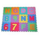 HOMCOM Alfombra puzle 192x192 cm Niños 3 años 36 piezas Numeros 0 al...