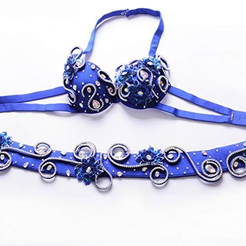Wangmei Bauchtanz Outfit für Frauen Professionelle Leistung Top BH Gürtel 2 Stück Handgemachte Perlen Bohrer Bauch-Tanzkleidung, Royal Blue, S