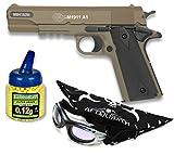 Pack Pistola airsoft COLT M1911 A1 corredera metalica. Calibre 6mm. Potencia 0,4 Julios + Gafas antivaho + Biberon 1000 bolas