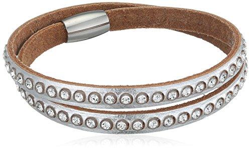 Damen Doppel Wrap (Tribal Steel Damen Doppel-Wrap Silber Italienisches Leder & Swarovski Elements Crystals Armband,Silber,37.5 cm)