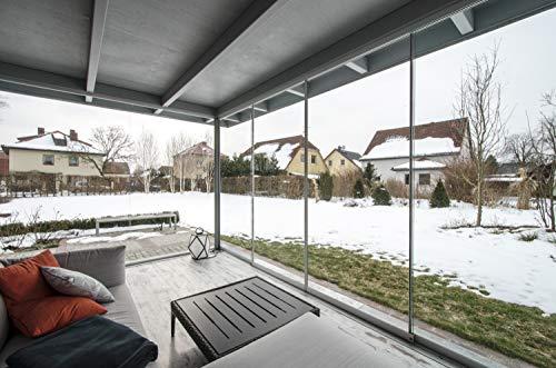 Terrassenschiebetür Overlook Slide von BE GLASS. Windschutz und Wetterschutz für Balkone, Loggien, Terrassen. Maßanfertigung direkt vom Hersteller.