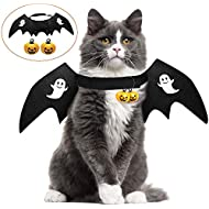 HusDow Halloween Cat Costume Pet Bat Wings with 2pcs Pumpkin Bells for Puppy Dog Cat Halloween Outfit