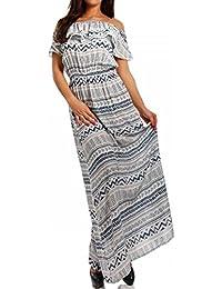 Maxikleid Hippie Bohemian Bodenlanges Kleid Strandkleid mit Volant Carmen Ausschnitt