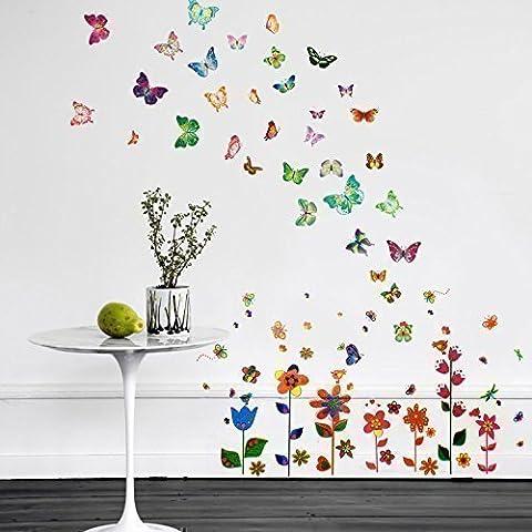 Walplus WS9015/ XY8040/ WS3013 - Pacchetto adesivi da parete, motivo: fiori colorati + farfalle, colori misti - Fiori E Farfalle