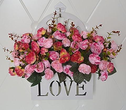 Hctina artificielle peintures à l'huile des roses d'intérieur Décoration murale à suspendre paniers de fleurs, fleurs,