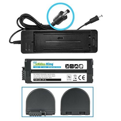 Ladeadapter + Akku kompatibel mit Canon Selphy CP810, CP820, CP900, CP910 Photo Printers, CP1200, CP1300 - ersetzt CA-CP200, NB-CP2L, NP-CP2LH - 1600mAh -