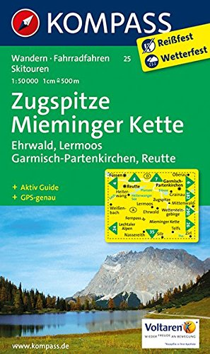 Wanderkarte n. 25. Zugspitze-Mieminger Kette: Wanderkarte mit Aktiv Guide,  Radwegen und Skirouten. GPS-genau