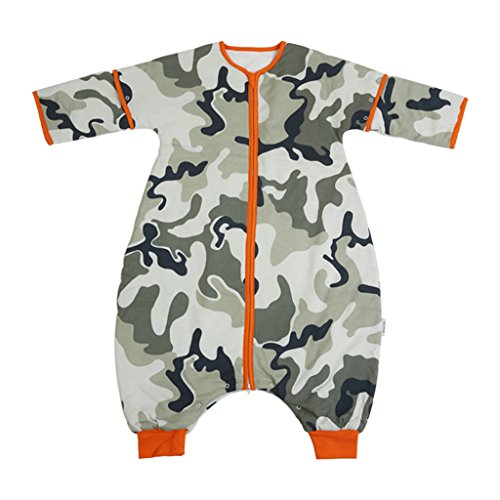 i baby sacos de dormir bebé niños Kids–Saco de dormir polar), con pies para niños niñas niños 2,5tog algodón Outlast con manga larga camouflage Talla:2 4Years
