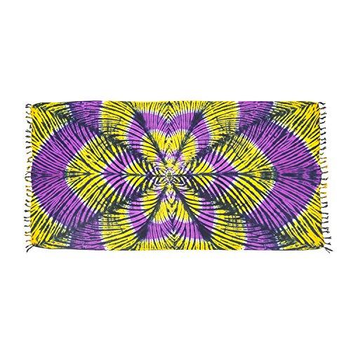 MANUMAR Mujer Pareo opaco, toalla de playa grandes Sarong en amarillo, púrpura, con motivo Lotus, XXL sobredimensionado 215x115cm toalla vestido de verano, bikini vestido de playa