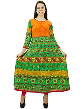 Phagun algodón geométrico étnico diseñador de las mujeres Kurta Ropa Casual vestido Kurti