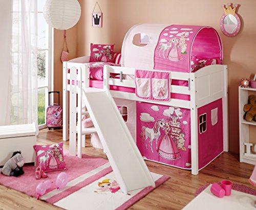 *Hochbett mit Rutsche Podestbett Ekki Kiefer massiv Weiss mit Farbauswahl, Vorhangstoff:Horse Pink*