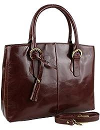 Ladies Italiano Vintage correa de bolso by Visconti Tote Bolso de piel color marrón