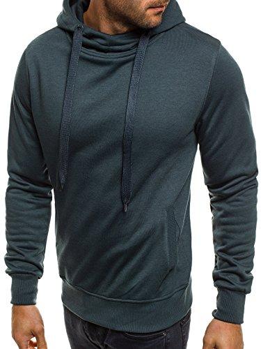 ozonee Felpa uomo felpa con cappuccio Maglia a maniche lunghe sportivi Pullover J. STYLE 2072-20 Blu scuro