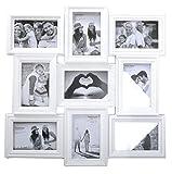 Ornate White 9 Aperture Multi Photo Frame by Carousel Home