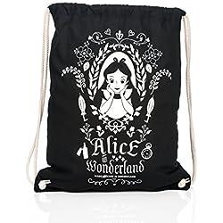 Alicia en el país de las maravillas bolsa de 45x39cm Sportbag Disney algodón negro espejo mágico
