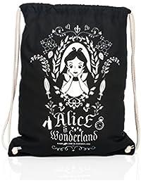 Alice in Wonderland Gym Bag Tote Magic Mirror Disney 45x39cm Cotton Black