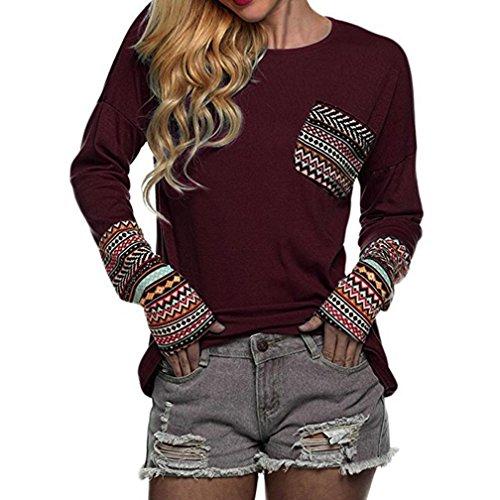 JiaMeng Damen Winter Sweatshirt, Damen Patchwork Herbst beiläufige lose T-Shirts Bluse Tops Tank mit Daumenlöchern (Weinrot, S)