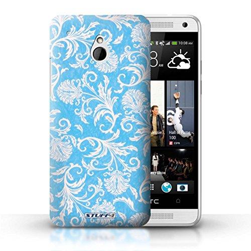 Kobalt® Imprimé Etui / Coque pour HTC One/1 Mini / Fleurs Mauves conception / Série Fleurs Fond Bleu
