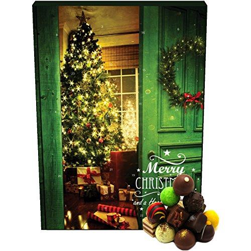 Hallingers 24 Pralinen-Adventskalender, mit/ohne Alkohol (300g) - Vorfreude (Advents-Karton) - zu Weihnachten Adventskalender