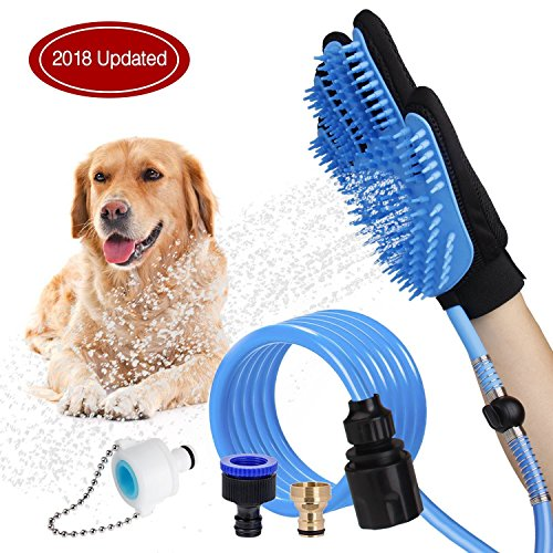 [2018 Updated] Pet Bathing Tool Dog Shower Head Sprayer Scrubber Grooming Glove with 3 Faucet Adapters for Dog Cat Horse Indoor Outdoor Use