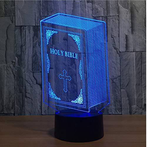 3D Nachtlichter Schlafzimmer Dekor Nacht 3D 3D Heilige Bibel Buch Leuchte 7 Farbwechsel Usb Jesus Kreuz Nachtlichter Tischlampe Kinder Geschenke