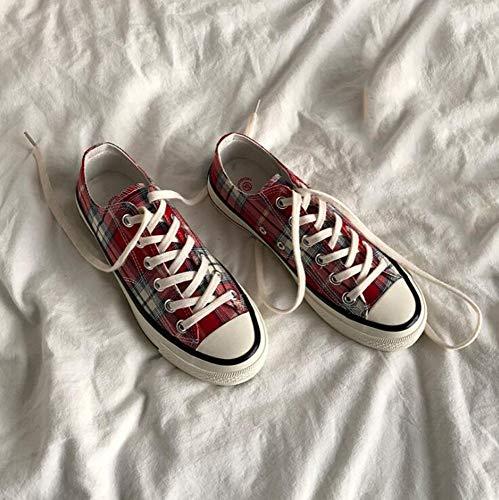 XL_nsxiezi Vintage Plaid Canvas Schuhe weiblich, 37, rot Plaid Low Top Sneaker