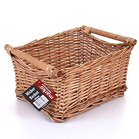 Medium Wicker Storage Basket Household Log Fireside Gift Hamper Traditional Natural NEW
