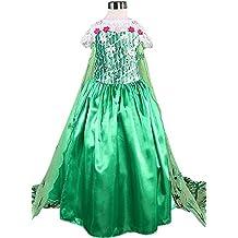 La Señorita Elsa Frozen Fever Vestido de Princesa para niña Capa largo disfraz verde (10-11 años - 150, verde) + Collar Frozen GRATUITO