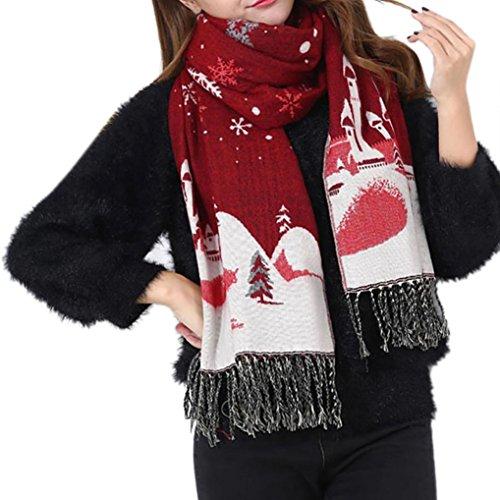 Xinan Damen Schal Women Scarf Winter Imitation Kaschmir Weihnachten Schneeflocken Warme Schals (180 * 65cm, Weinrot)
