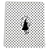 Tapis de souris pour femme original & fantaisie Motif Bigoudène noire fond blancs pois noirs Réf. 4096