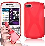 Cadorabo - Custodia silicone TPU X-Line Design per Blackberry Q10 - Case Cover Involucro Bumper Astuccio in ROSSO-CREMISI
