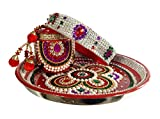 Unique Arts Full Kundan Round design Karwa Chauth Puja Thali Set