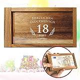 Magische Geldgeschenkbox mit Gravur – zum Geburtstag – 18 Jahre - Geschenkverpackung mit Trickverschluss – Geduldsspiel als originelles Geburtstagsgeschenk