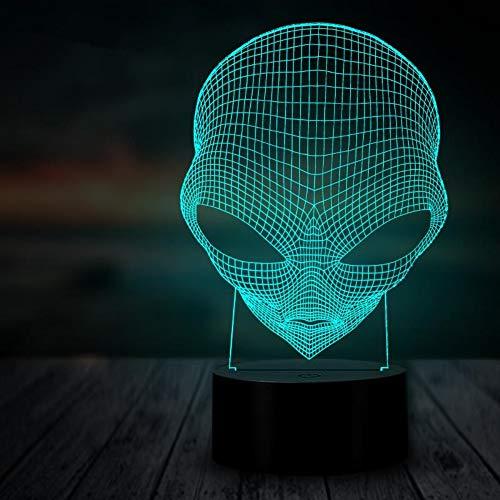 hlampe Hologramm 3D Lampe Nachttischlampe Birthday Present Alien 3D Nachtlicht Beleuchtung Led Usb Multicolor Tischdekoration Wohnkultur Geschenk Für Kinder Halloween ()