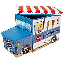Bieco 04000510 - Cassapanca/cesta per giocattoli, 55 x 26,5 x 31,5 cm, a forma di camioncino dei gelati