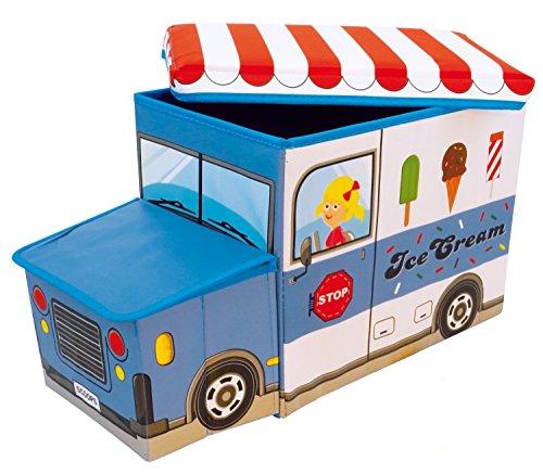 Bieco Aufbewahrungsbox mit Sitzbank Icecream Sitzhocker mit Stauraum und Deckel mit Polsterung 46L blau weiß zusammenklappbar, 04000510