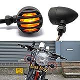 2x LED Indicatori di Direzione per Moto, Universali 12V Tipo Pallottola Luci Posteriori Anteriori Fanale posteriore per Cruiser Bobber Chopper (Ambra)