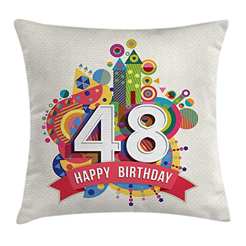 VTXWL 48th Birthday Decorations Throw Pillow Cushion Cover, Vintage Pop Art Style Funky Urban Party Age Day Artisan Graphic, Decorative Square Accent Pillow Case, 18 X 18 inches, Multicolor (Pop-up-camper Cover)