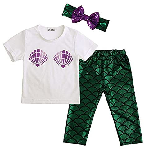 JXStar Baby-Mädchen-nette Shell T-Shirt Meerjungfrau Hosen-Outfit mit Stirnband 100 (Mermaid Gamaschen Kostüm)