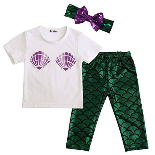JXStar Baby-Mädchen-nette Shell T-Shirt Meerjungfrau Hosen-Outfit mit Stirnband 100 (Punk Star Kostüm)