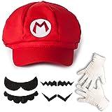 Katara - Juego de disfraces Super Mario Bros para niños y adultos - Set 1 gorra de Mario, 6 bigotes y 1 guantes