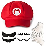 Katara - Kit costume de Super Mario - casquette rouge de Mario- gants blancs de taille unique et ensemble de 6 fausses moustaches - set déguisement et cosplay jeux vidéo/ pour enfants ou adultes