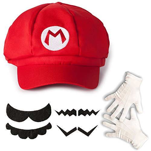 Katara 1659 Kit Costume de Super Mario Bros - Casquette de Mario, Gants Blancs, 6 Fausses Moustaches Enfants  Adultes, Rouge