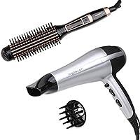 Aigostar -Secador profesional de pelo en color plateado y negro con difusor y accesorios.