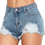 Jeans Damen, HUIHUI Skinny Jeans Hosen für Damen Low Waist bis Übergröße Stretch Frauen Hohe Taille Stretch Slim Bleistift Hose Solid Summer Mini Hot Shorts (S, Blau)