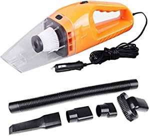 Yozo Car Vacuum Cleaner with Device Portable and High Power Plastic 12V Stronger Suction for All Types Wet and Dry with Carry Bag High Power Wet & Dry Portable Car Vacuum Cleaner Orange