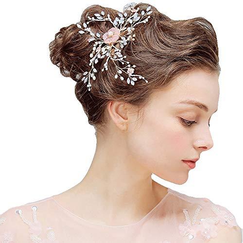 ge, Kristall Perlen Hochzeit Haarspange, Braut Kopfschmuck Zubehör, Side Chuck Blume handgemachte Party, Kleid, Hochzeit,Gold ()